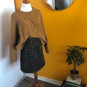 Anthropologie plaid wool mini skirt